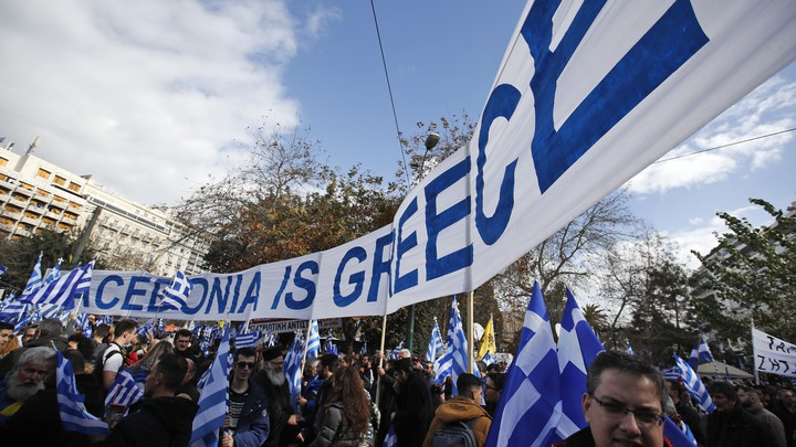 Greeks attend a January protest against a deal that would change Macedonia's name so the country could join NATO.