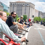 """photo: Bike and pedestrian advocates participate in a """"die-in"""" for better traffic safety in Washington, D.C."""