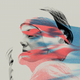 A woman's face with a piece broken off it is blown away in red and blue winds
