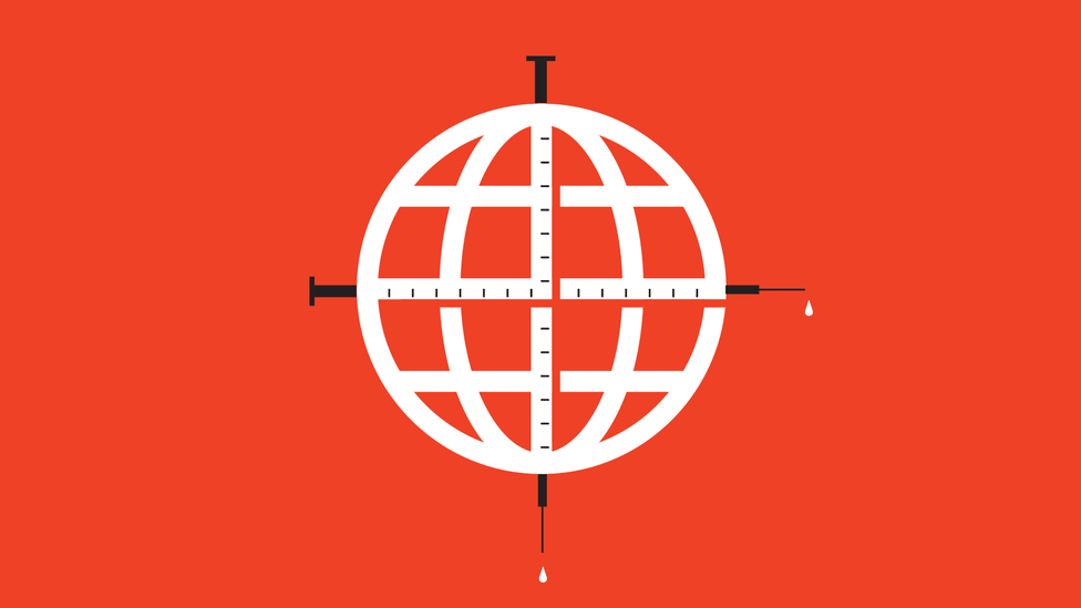 A globe with syringes on both axes