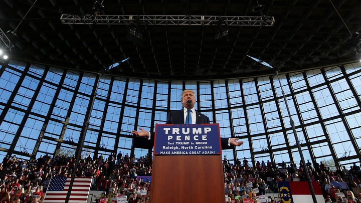 Donald Trump speaks at a rally in Raleigh, North Carolina, the day before the election.