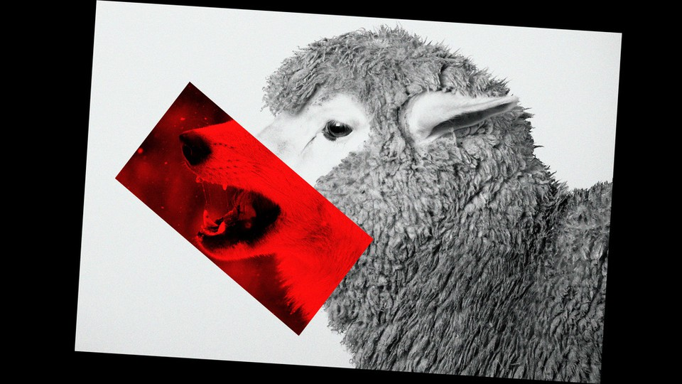 An illustration of a sheep with a wolf's mouth.