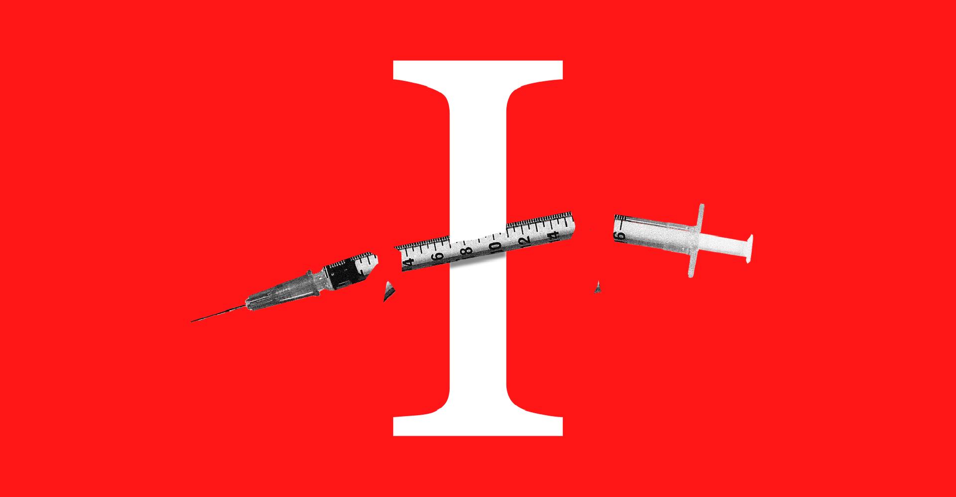 """Illustration of the letter """"I"""" and a broken syringe"""