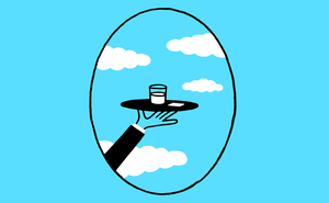 illustration of hand carry tray in plane window