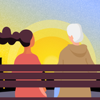 An illustration of an older person with a young woman on a park bench.