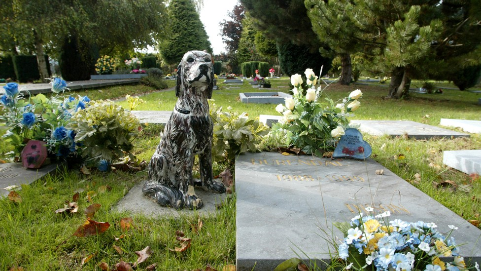 Gravestones, flowers, and a statue of a dog