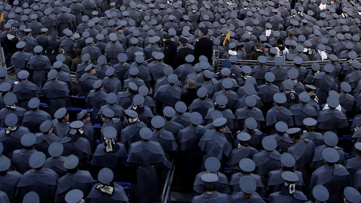 Cadets from the United States Military Academy at West Point pack the stands as they attend the Army vs Navy college football game at M&T Bank Stadium in Baltimore on December 10, 2016.