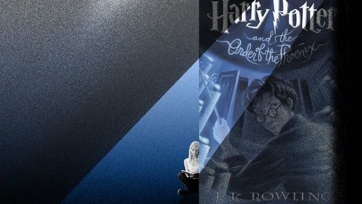 An illustration of 'Harry Potter and the Order of the Phoenix' with a beam of light shining on a reader