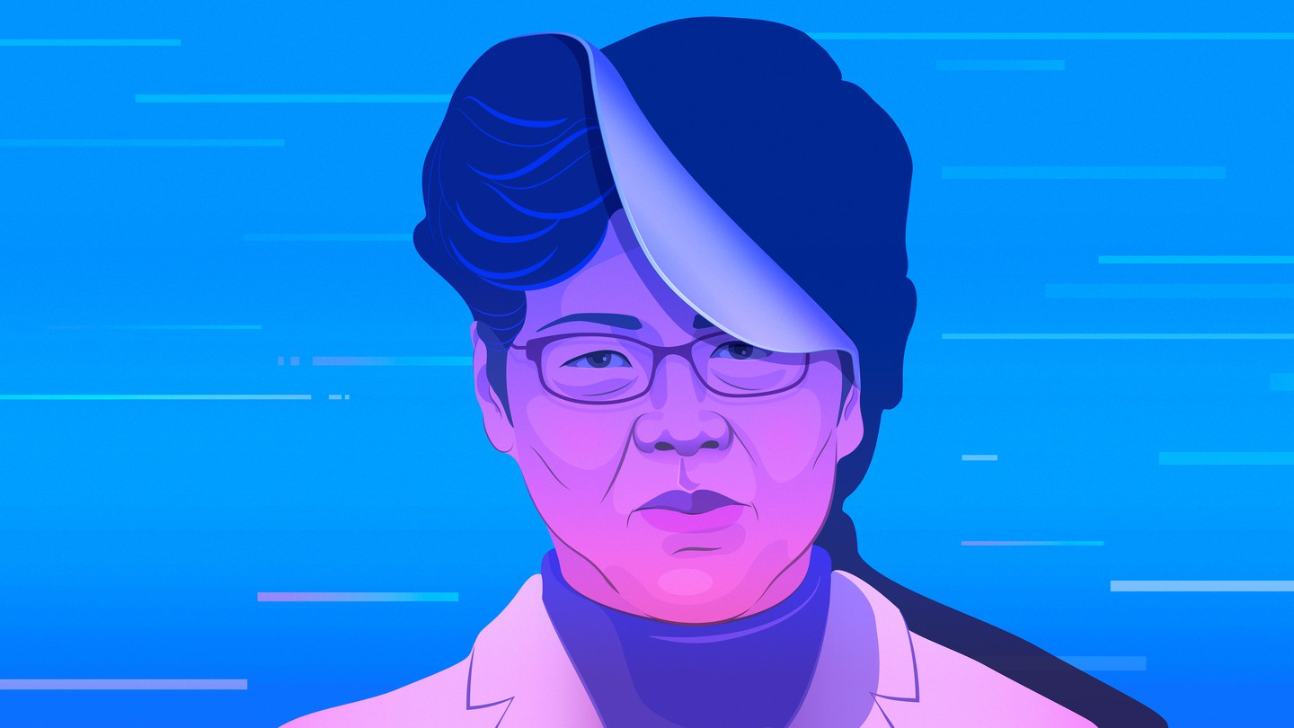 An illustration of Carrie Lam set against a blue background