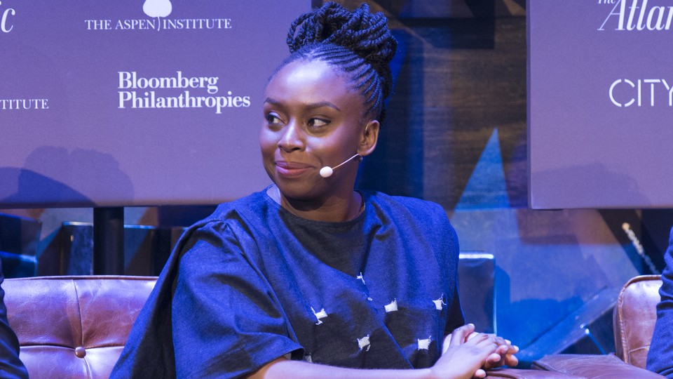The writer Chimamanda Ngozi Adichie appears onstage for a CityLab Paris discussion.