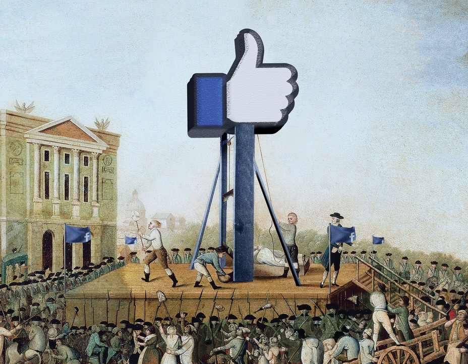 """Illustration of 18th-century gallows platform crowned by giant Facebook """"like"""" thumbs-up logo and surrounded by a crowd"""