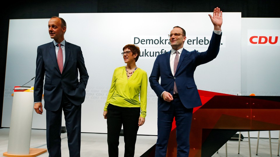Friedrich Merz, Annegret Kramp-Karrenbauer, and Jens Spahn, the candidates for CDU party chair, attend a conference in Duesseldorf.