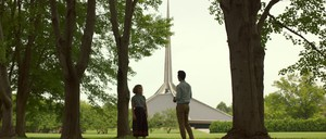 A still from the film, Columbus, with Eero Saarinen's North Christian Church in the background