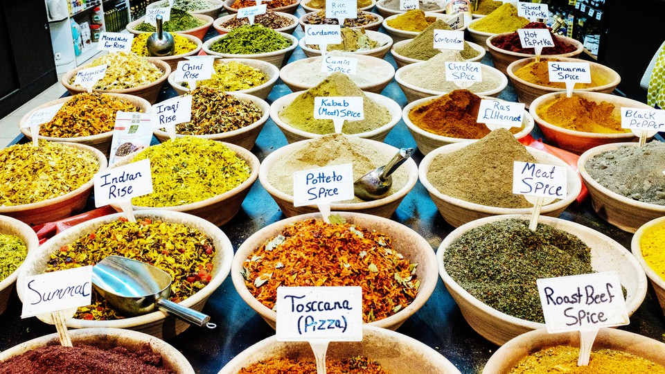 Bowls of spices in a marketplace in Jerusalem