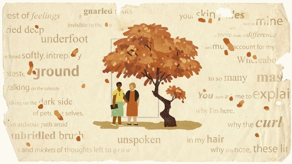 Illustration of two women, one white, one Black, standing under a tree with orange leaves. The background resembles an aged piece of paper and has transparent words on it.