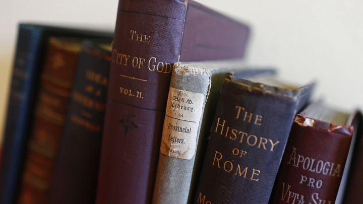 A row of books of European history and philosophy