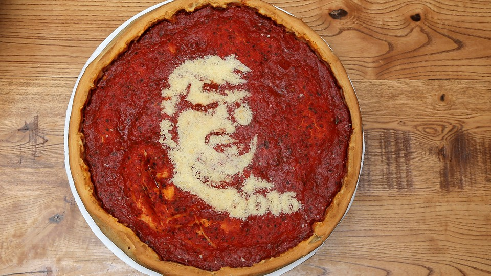 A pizza with Donald Trump's face on it