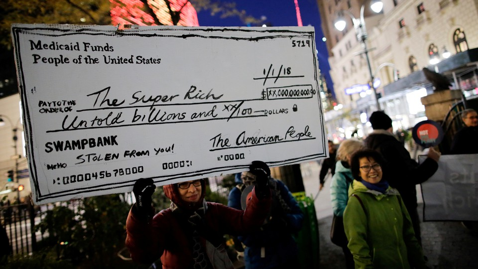 A protest against tax cuts for the wealthy in 2017 in New York City