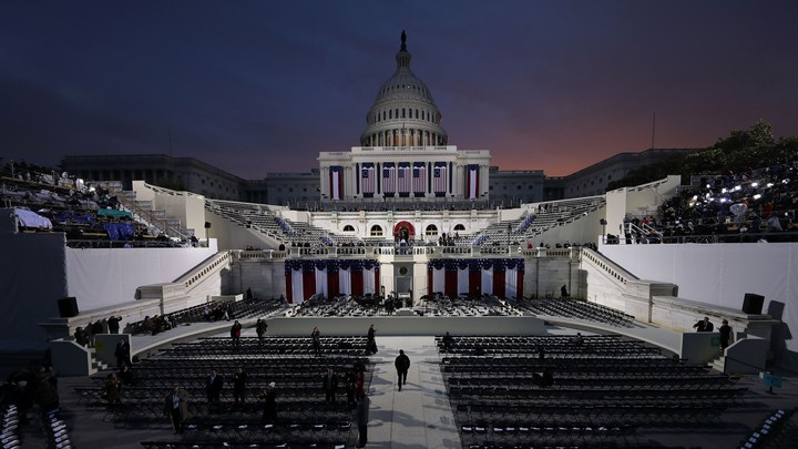 Workers prepare the grounds of the U.S. Capitol for the 2017 presidential inauguration.