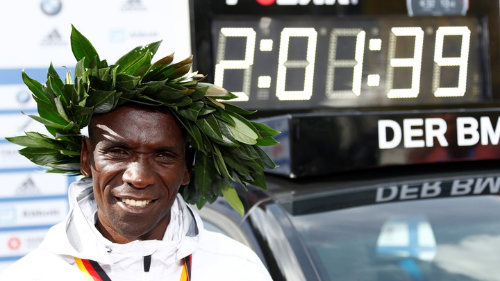 Eliud Kipchoge of Kenya after setting a new world record in the marathon on Sunday in Berlin.