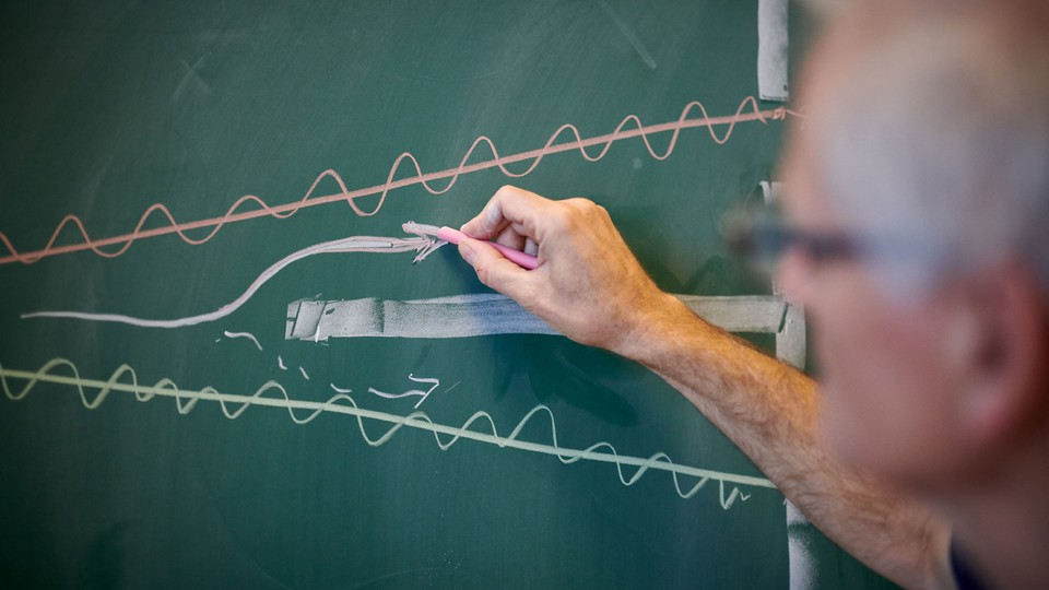 The quantum double slit drawn on a chalkboard