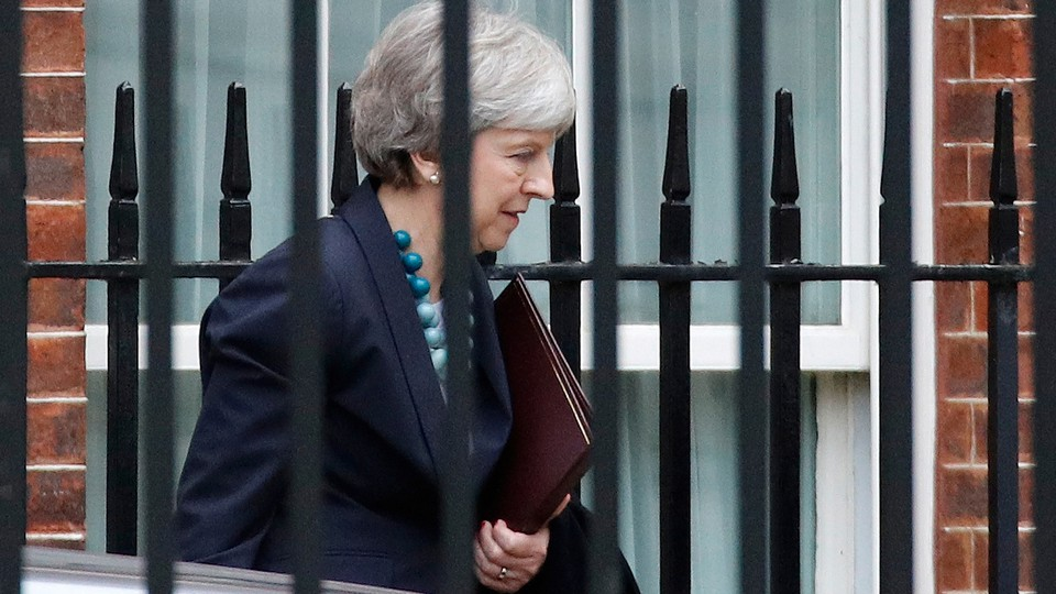 Theresa May leaves Downing Street on Monday.