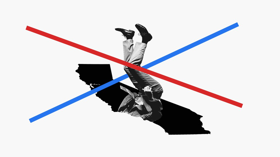An illustration shows a man falling into a pit that is the shape of California. Red and blue lines run across his body.