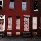 Boarded-up, abandoned buildings in Baltimore, Maryland.