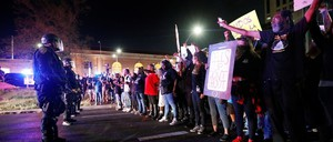 Sacramento demonstrators protest the police shooting of Stephon Clark, on March 31, 2018