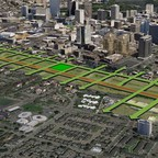 A rendering of Oakland, California, that replaces Interstate 980 with a surface boulevard