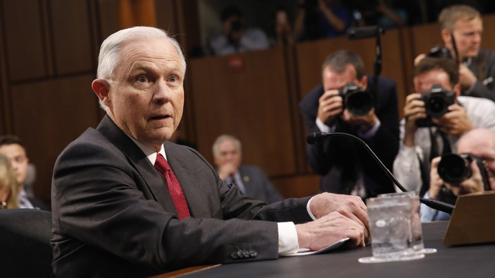 Attorney General Jeff Sessions testifies before a Senate Intelligence Committee hearing on Capitol Hill on June 13, 2017.
