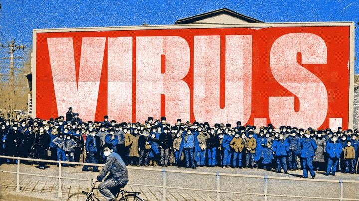 "An illustration of Chinese nationals with a sign spelling out ""VIRU.S."" behind them."