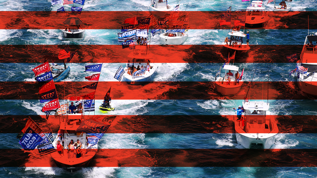 Illustration of Trump supporters on boats overlaid with horizontal red stripes