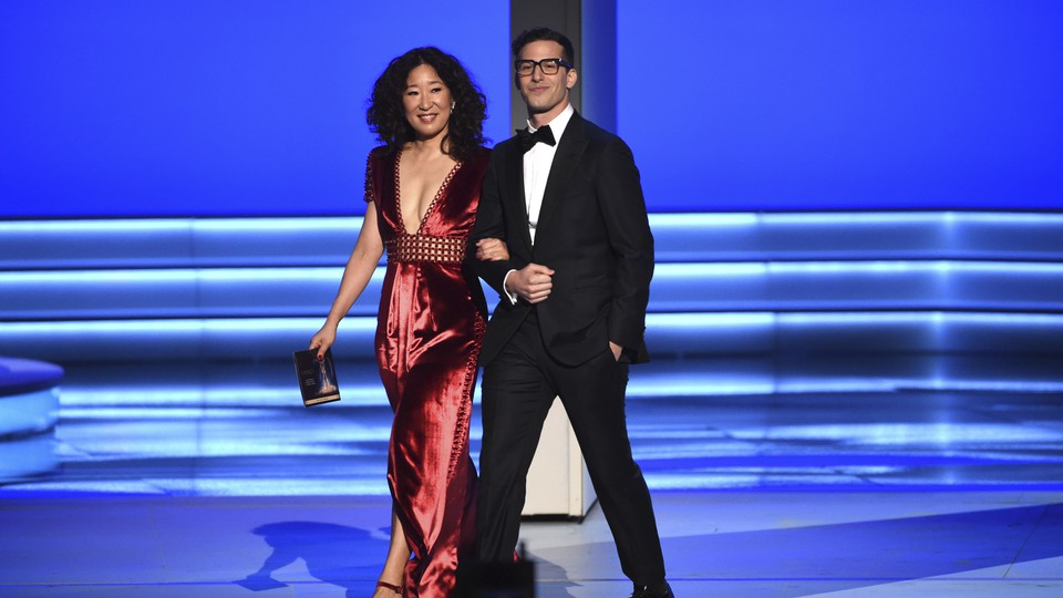 Sandra Oh and Andy Samberg present the award for Outstanding Directing for a Comedy Series at the 70th Primetime Emmy Awards on Monday, September 17, 2018.