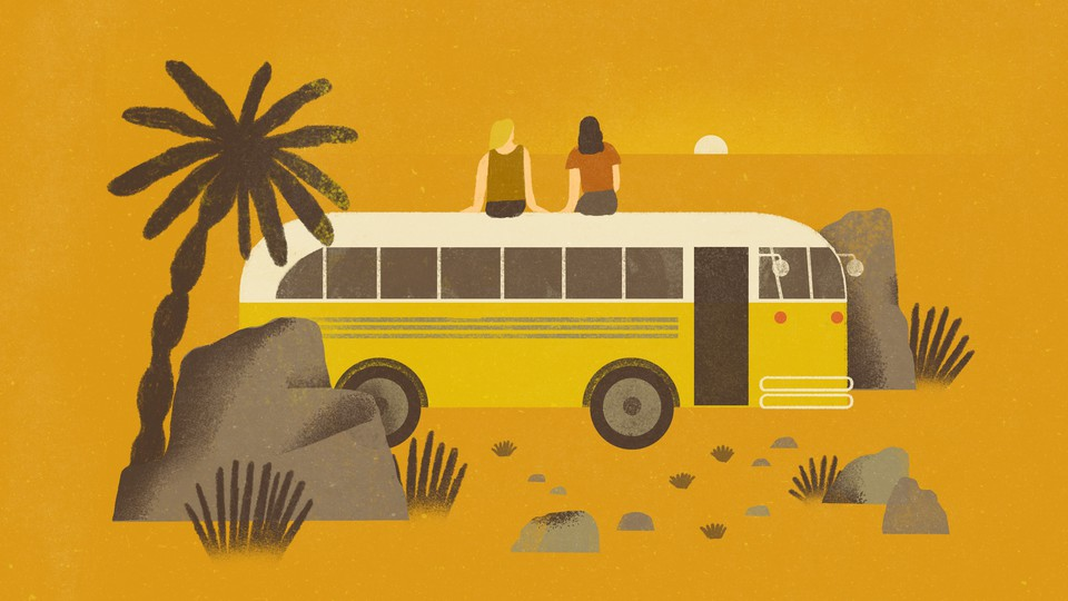 An illustration of two friends sitting on top of a school bus parked in the desert.