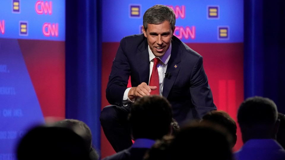 Beto O'Rourke greets attendees at the LGBTQ town hall.