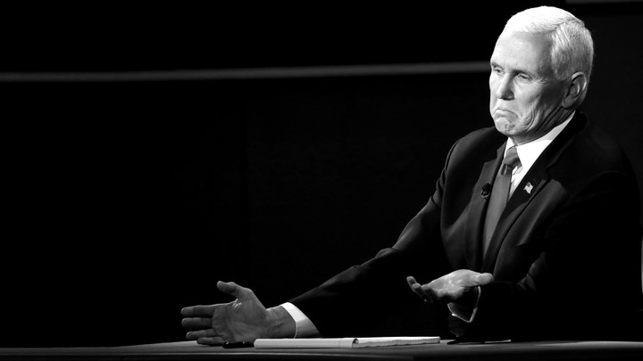 Vice President Mike Pence smirks during the vice-presidential debate.