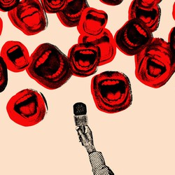 An illustration of a microphone and many mouths