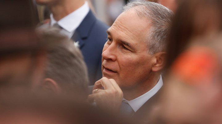 Scott Pruitt attends an arrival ceremony at the White House on Tuesday.