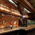 A train arrives at Paris' Arts et Metiers metro Station.