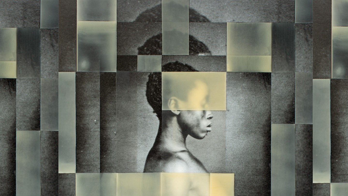 A mosaic photo illustration of a daguerreotype of a formerly enslaved woman