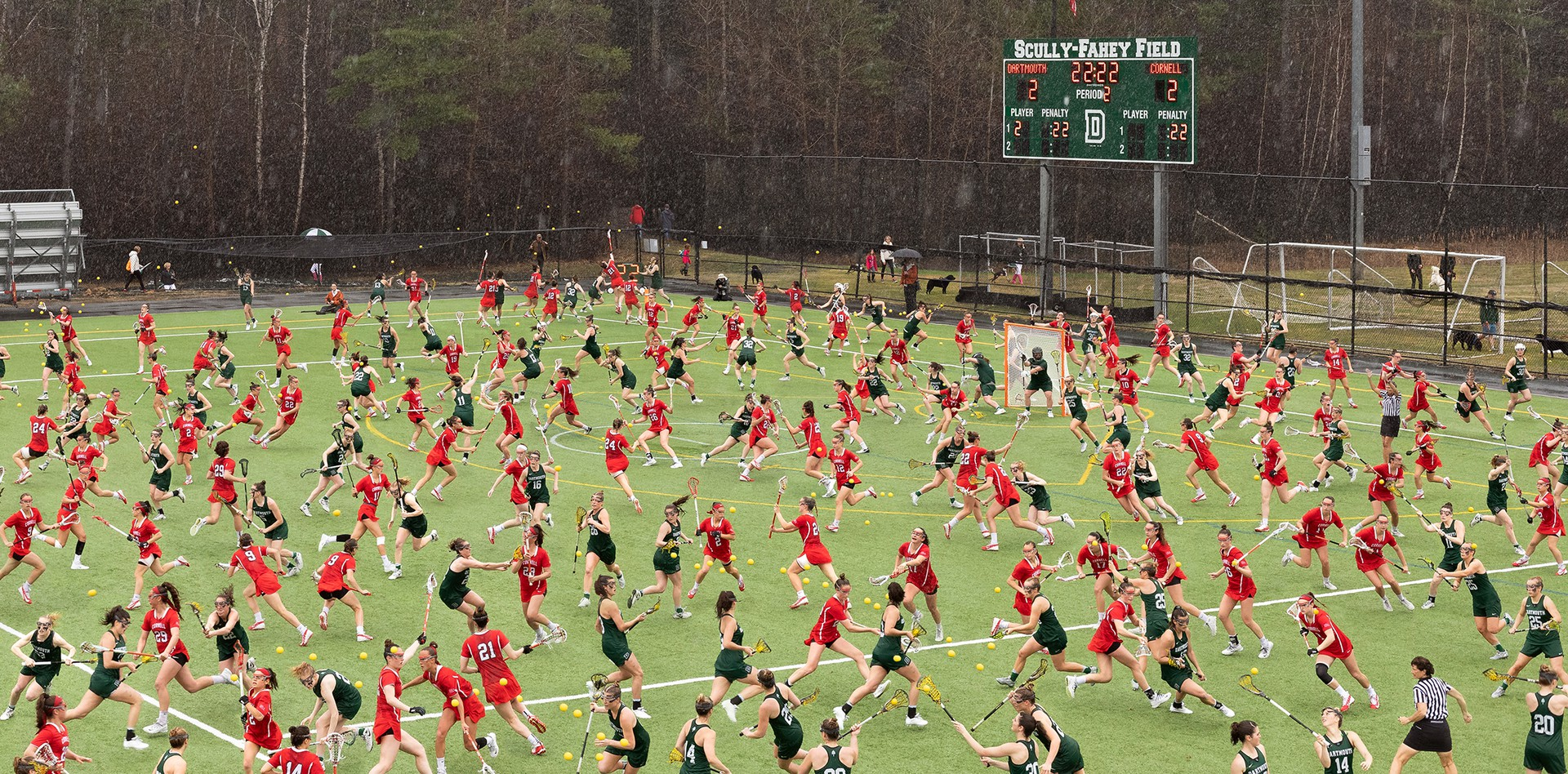 photo illustration of overcrowded women's lacrosse field
