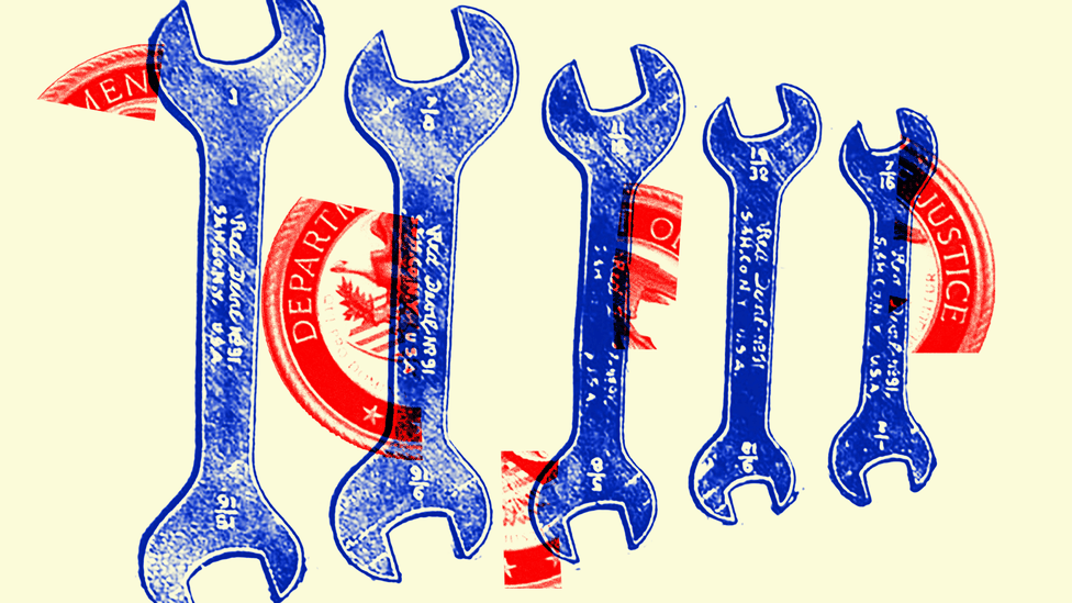Illustration of tools and the Department of Justice seal.