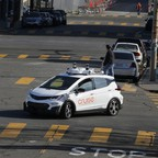 A self-driving GM Bolt EV is seen during a media event in San Francisco.