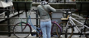 An Amsterdam cyclist is pictured.