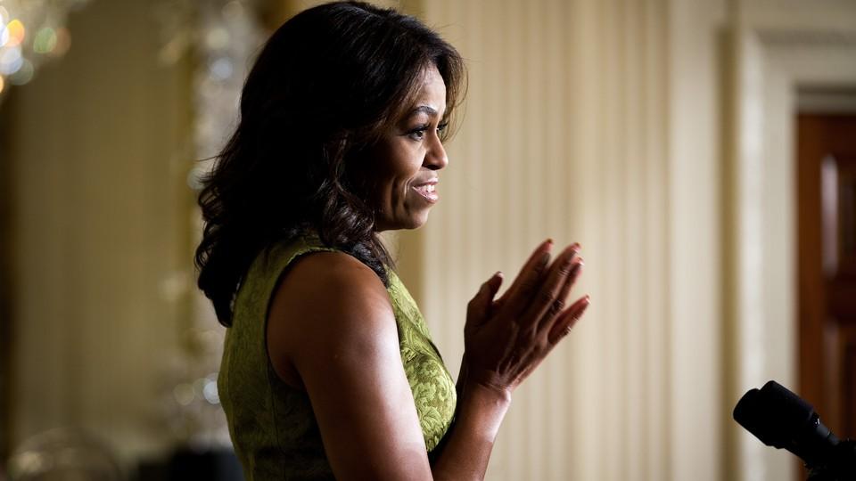 Michelle Obama speaking.