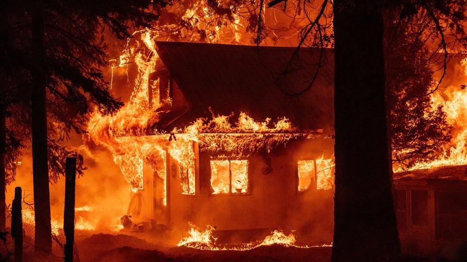 House burning in California