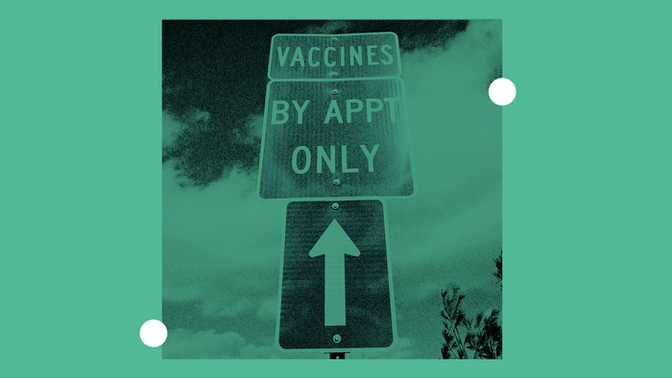 """Arrow pointing to sign that says """"vaccines by appointment only"""""""