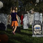 A lawn in Los Angeles decorated to look like a cemetery for Halloween.