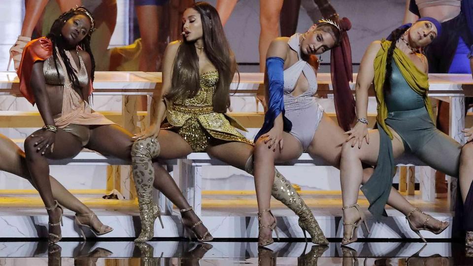 Ariana Grande performing at the 2018 VMAs